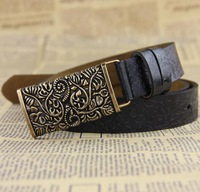 The latest genuine leather retro hollow out print waist belt belt for women,lady's all match fashion designer decoration