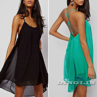 2014 Vogue Summer Women's Dresses Halter Backless Chiffon Beach Club Cocktail Party Dress Novelty Swing Mini Free Shipping 1091