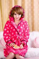 Autumn and winter long-sleeve coral fleece robe lounge loose sleepwear coral fleece bathrobe female