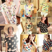 Womens Girl Casual Birds Pattern Loose Chiffon Short Sleeve Tee Shirt Blouse Top