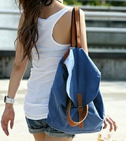 Solid Blue casual women backpack for girls big double shoulder bags large capacity canvas school bag retail