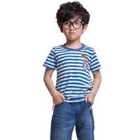 Boys Simple Striped Fashion Tee Shirts Children Clothing Size 7-16 Years