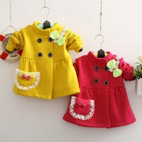 Retail New 2013 Autumn Winter Cotton Coat Costumes for Kids Velvet Girls Jackets Lace and Bowtie Baby Outerwear Children's Coat
