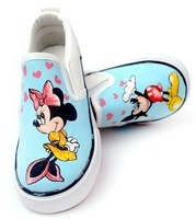 2013 Newest Free shipping Men/Women's Mickey Mouse cartoon custom hand painted slip on canvas shoes