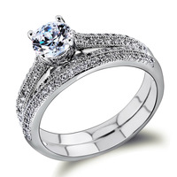 New Woman Trendy wedding rings Gold White Color Cubic Zirconia Office ladies Dinner Present