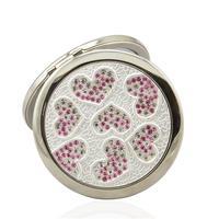 Portable diamond heart makeup mirror portable folding double faced small mirror teachers day gift