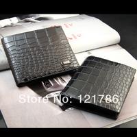 2013 hot selling leather crocodile pattern men's wallet short purse change purse card holder for men