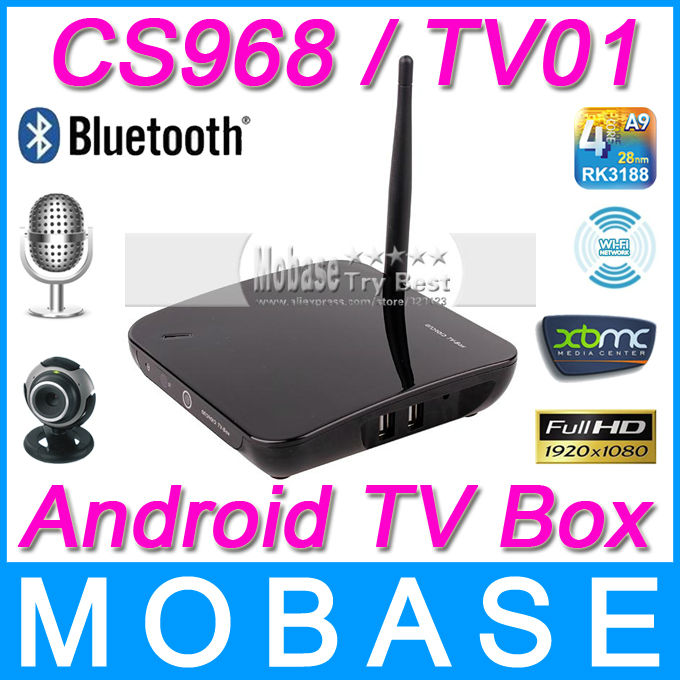 CS968 / TV01 Android TV Box Quad Core Smart TV Receiver Webcam Microphone RK3188 1.6GHz 2G/8G HDMI AV USB RJ45 OTG WiFi Mini PC(China (Mainland))
