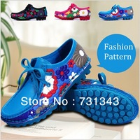 New arrival!  flower pattern casual flat shoes women shoes with Peas style sole in 3 colors6 size blue/Rose/Black