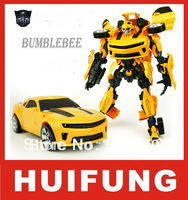 NEW Large 46cm Transformable Car Chevrolet Camaro Bumblebee Robot Toy LED Eyes Variant Car Robot Birthday Christmas Gift