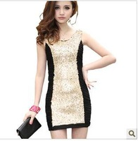 free shipping Korean Fashion Slim OL bright beads package hip sexy dress folds