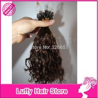 8''-32''  Prebonded Curly Micro Loop Ring Hair Extensions Indian Virgin Human Hair 0.9g/trand 100s AAAA Grade High Quality Hair