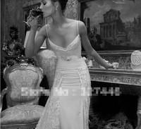 2014 New Sexy Sweetheart Backless Spaghetti Straps Chiffon Beaded Mermaid Lace Wedding Dresses Custom Made No risk shopping