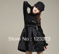 high waist paillette long-sleeve sweater dress one-piece dress women's wool skirt basic skirt black  dresses new fashion 2013