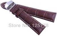 22 mm BROWN Genuine Leather Crocodile pattern White thread loop Watchband Wrist Belt parts BUTTERFLY Deployant Buckle Free Tool