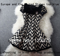 2013 fashion winter slim gold stripe rabbit fur sleeveless one-piece dress t1032