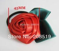HJ0035 Ribbon Rosettes Elastic Bands 10pcs Randomly Ponytail satin flowers baby headband Hair Accessories