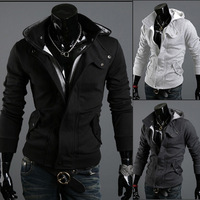 Spring and autumn Hooded zipper solid colur cardigan men's casual slim warm jacket