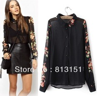 (Free Shipping)  2014 Women's  Symmetric Floral printing Pattern Sleeve Casual  Blouse Ladies   shirt