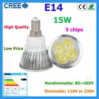 1pcs led bulb E14 15w 5*3W warm white cold white 220V Dimmable led Light led lamp led spotlight without tracking number