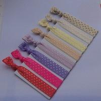 European&American hot sell polka dots gold foiled  FOE  fold over  elastic hair ties wholesale  100 pcs 7colors  free  shipping