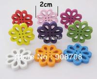 Free Shipping 500Pcs Random Mixed Flower Shape Wood Sewing Buttons 20mm Fashion Bouton