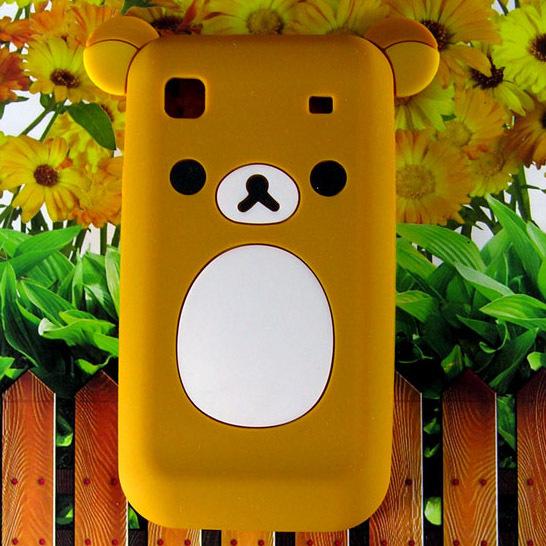 Cute Cartoon Flat Rilakkuma Lazy Bear Soft Silicone Back Case Cover For Samsung Galaxy S I9000 I9001 Galaxy S Plus(China (Mainland))