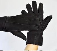 Retail Men Women Genuine Leather Gloves Wool Gloves Winter Thick Warm Women  Men's Fur Gloves Random Colors Size For All