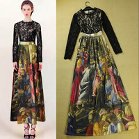 Free Shipping ! 2014 Early Spring Fashion Runway European Brand Oil Painting Print Lace Patchwork Slim Long Ankle Length Dress