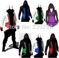 Assassins Creed 3 III Men Conner Kenway Hoodie Coat Cosplay Hoodie Costume assassins creed style cloth assassins creed hoodie