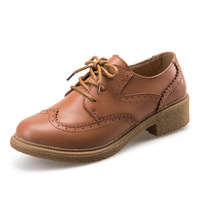 New 2015 Fashion Carved Genuine Leather Brogue Oxford Shoes For Women Vintage Cow Leather Bullock Flat Lace Up Women Oxfords