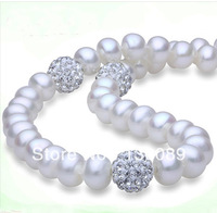 Free Shipping! 8_9mm Oblate Natural Pearl Necklace,Cultured Freshwater&Shambhala Fashion Ball 3 Color Unice Jewelry