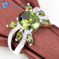 Unusual Korean Style Cute Crab Shape Beauty popular Green Zircon Silver Ring Men R0662