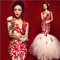 2014 Gossip.H Personal custom All size Sexy deep lace V-neck Red princess bride Fish tail wedding dress formal dress