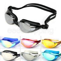 S128 Fashion New Womens Mens Swimming Goggles Swim Glasses Water Sportswear Anti Fog Uv Protected Waterproof Eyewear Black