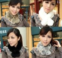 100% rabbit Fur Beauty women scarf neck warmer scarf wrap shawl winter