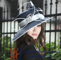 Free shipping winter new arrival ladies'church hat polyester hat satin dress hat wide brim dress hats for women navy feather