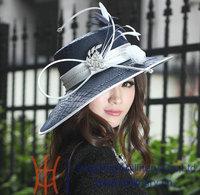 vintage New Ladies' 100% Polyester Floppy Feather Wide Brim Kentuky Derby Wedding Dress Hats Women church Formal Hat Navy