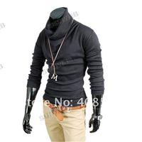 2013 Korea Fashion Men's Shirts Casual Slim Fitting long sleeve cotton T-shirt Tee Tops free shipping 6 colors 4 size