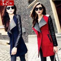 womens jacket Spring  Autumn Fashion 2015 jacket for womans Woolen coat Genuine leather PU stitching long sleeve jacket big size