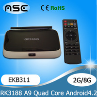 2GB Ram 8GB Rom Quad Core RK3188 Cortex A9 MK888B Bluetooth Full HD Multi Media Player Android TV Box MK888 K-R42 CS918 EKB311