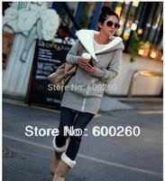 2014 Korea Women Hoodies Coat Warm Zip Up Outerwear free shipping