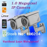 POE 720P Megapixel IP Bullet Camera Outdoor Waterproof Varifocal Lens 2.8-12mm Plug and Play Support Onvif Web CCTV Camera