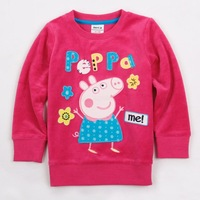 FREE SHIPPING F4275# 18m/6y NOVA kids wear 2013 girl's fashion Spring clothing applique peppa pig baby girl long sleeve T-shirts