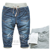 New 2013 Children's Jeans Cotton Padded Baby Boys / Girls Winter Thick Jeans Pants Double Layer Thickening Warm Pants for Kids