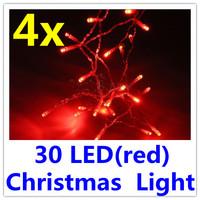 4 x 30 LED Red Garden Christmas String Lamp Light Tree Lamp Light Free Shipping