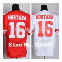 Free Shipping Elite Men American Football Jersey San Francisco #16 Joe Montana Jersey red/white Mix Order Size M-XXXL
