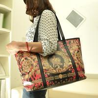 Fashion vintage print shoulder bag big bag oil painting bag fashion personality women's handbag women's bags
