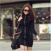 2014 new arrival good quality long sleeve women's dress casual autumn and winter dress hot sale size S-XXXL