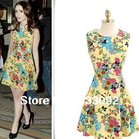 Fashion Retro Printing Flowers Sleeveless Woman's dress Cute Chiffon One-piece Dress  Free Shipping